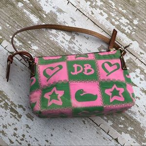 Dooney & Bourke Pouchette Purse Green Pink Duck